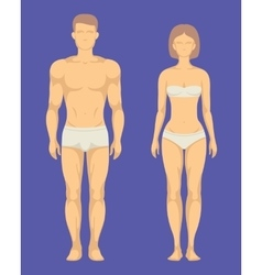 Healthy body of man and woman flat set vector