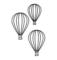Hot air balloon black and white vector