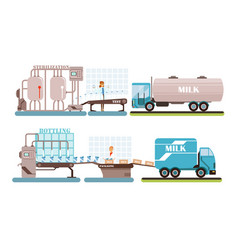 industrial production milk set processing of vector image