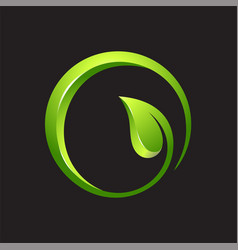leaf circle 3d logo vector image