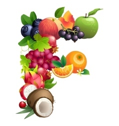 Letter f composed different fruits with leaves vector