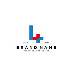 Letter l cross plus hospital medical logo design vector