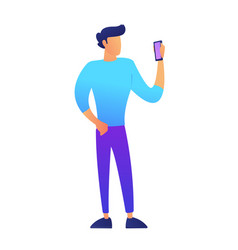 male vlogger standing and using smartphone vector image