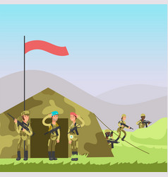 Military cartoon soldiers vector