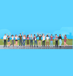 mix race people crowd taking off face masks vector image