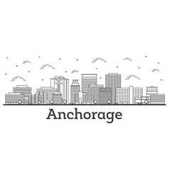 Outline anchorage alaska city skyline with modern vector