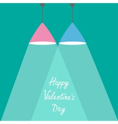 Pink and blue lamps with rays light valentines vector