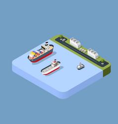 port cargo ship transport vector image