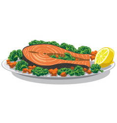 prepared salmon with lemon vector image