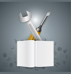 realistic wrench screwdriver and book icon vector image