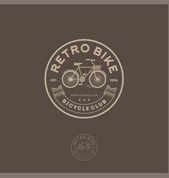 Retro bike logo cycling club emblem vector