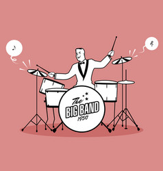 Retro cartoon music drummer player playing a song vector