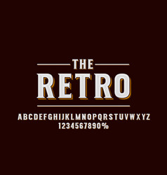 retro font set collection letters and numbers vector image