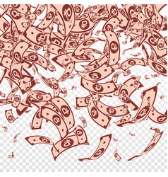 russian ruble notes falling messy rub bills on tr vector image
