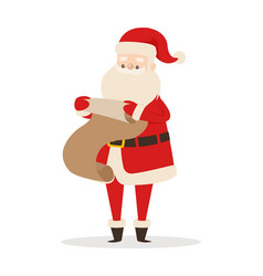 santa claus with wish list isolated on white vector image
