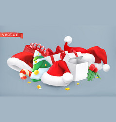 Santa hat christmas tree and gifts 3d icon vector