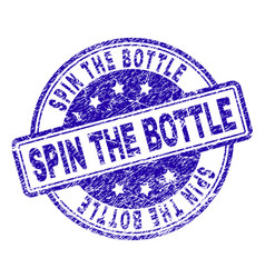 Scratched textured spin the bottle stamp seal vector