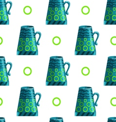 Seamless pattern with cartoon mugs-7 vector image