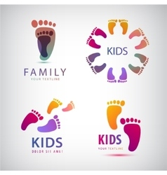 Set feet steps footprints logos vector