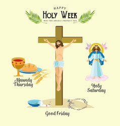 Set for christianity holy week before easter lent vector