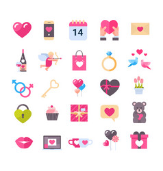 set icons with hearts valentines day holiday vector image