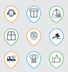 Set of 9 ecommerce icons includes employee gavel vector