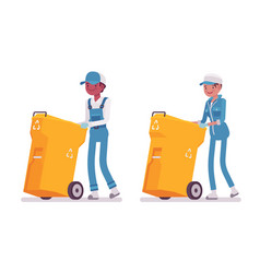 set of male and female janitor pushing trash can vector image