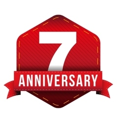 Seven year anniversary badge with red ribbon vector image