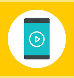 smartphone video play icon flat style vector image