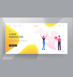 Social blog website landing page woman stand with vector