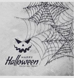 spider cobweb with scary face halloween background vector image
