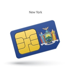 State of New York phone sim card with flag vector