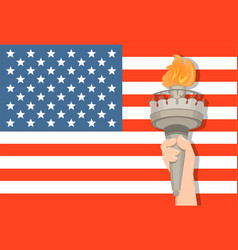 Statue of liberty hand with torch and usa flag on vector