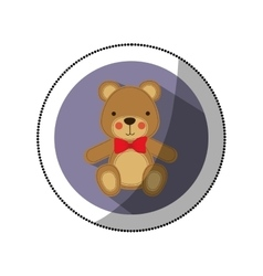 Sticker color silhouette with teddy bear in round vector