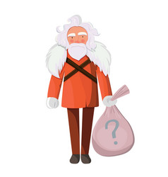 stylish santa claus with bag of gifts vector image