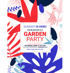 Summer party flower invite template vector