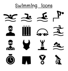 swimming icon set graphic design vector image