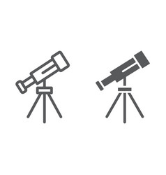Telescope line and glyph icon space and astronomy vector