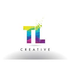 Tl t l colorful letter origami triangles design vector