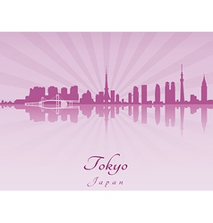 Tokyo skyline in purple radiant orchid vector