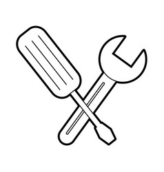 tools wrench and screwdriver construction repair vector image