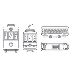 Tramway icon set outline style vector