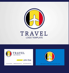 Travel belgium creative circle flag logo and vector