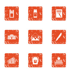 Tuition fees icons set grunge style vector