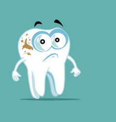 Unhappy tooth cartoon character with coffee stains vector