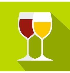 Wine glasses icon flat style vector