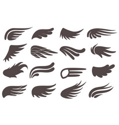 Wing icons different shapes black wings vector