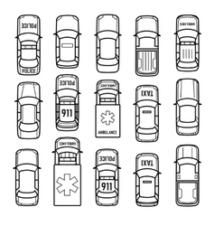 Cars top view thin line icons vector image vector image