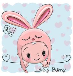 cute cartoon baby boy in a bunny hat vector image