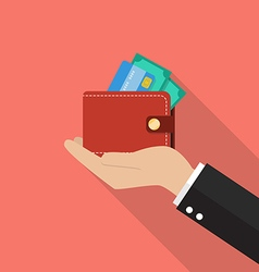 Hand with wallet vector image vector image